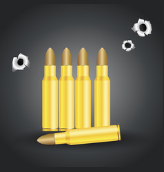 weapon bullets and bullet holes isolated on gray vector image