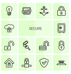 14 secure icons vector image