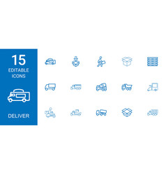 15 deliver icons vector image