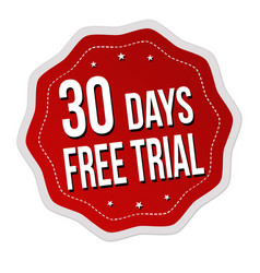 30 days free trial label or sticker vector