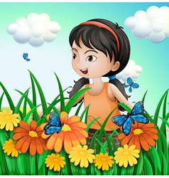 A girl in the garden with butterflies vector