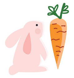 a pink rabbit looking at big orange carrot vector image