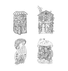 adult coloring book pages mono color black ink vector image
