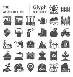 Agriculture glyph icon set farming symbols vector