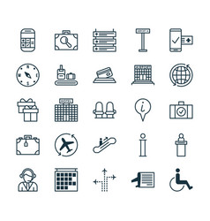 Airport icons set collection of locate present vector
