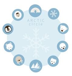 Arctic Animals People Icons Circle Frame vector image