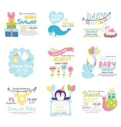 Baby shower invitation set vector