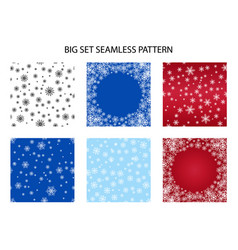 big set seamless snow pattern simple vector image