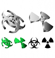biohazard and radiation signs vector image vector image