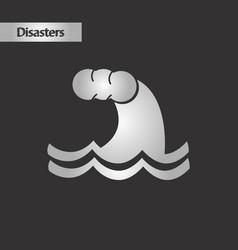 Black and white style nature tsunami danger vector