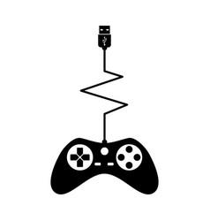Black silhouettes joystick gamer isolated white vector