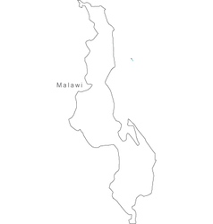 Black White Malawi Outline Map vector image