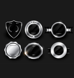 blank silver shiny labels and badges design vector image