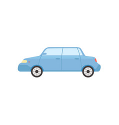 Blue sedan car side view vector