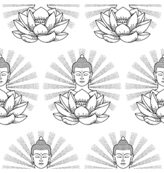 Buddha and Lotus with light seamless pattern vector image