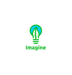 bulb and leaf imagine healthy logo designs vector image