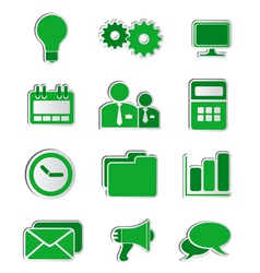 Business icons stickers green vector