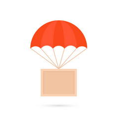 Cartoon box hanging on parachute vector