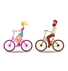 Cartoon couple riding bikes vector image