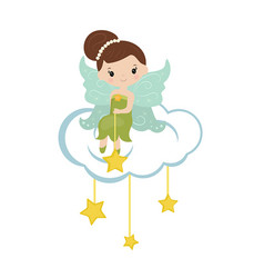 Cartoon fairy sitting on the cloud cartoon fairy vector