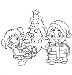 children christmas vector image