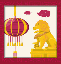 chinese culture lion emblem vector image