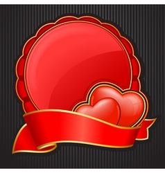 circular frame with heart and ribbon for valentine vector image
