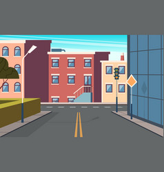 city street cartoon urban structure buildings vector image