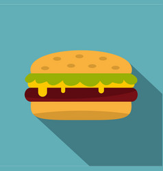 Classic cheeseburger with lettuce icon flat style vector