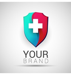 Colorful medical secure logo creative abstract vector