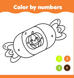 Coloring page with halloween candy color by vector
