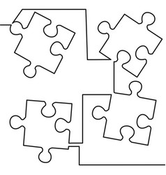 Continuous one line drawing of jigsaw puzzle vector