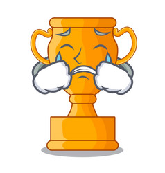 Crying champion golden trophy on cartoon table vector