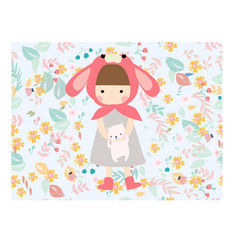 cute girl and cat in the flower sweet garden vector image