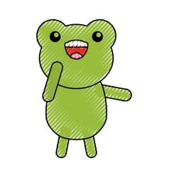 Cute scribble toad cartoon vector
