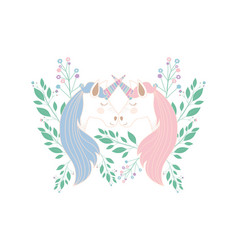 Cute unicorns kissing with flowers characters vector