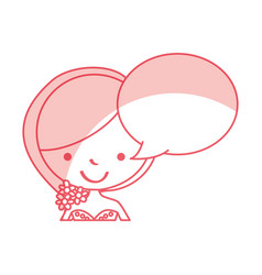 Cute wife with speech bubble avatar character vector