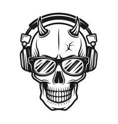 Devil skull head with horns in headphones vector