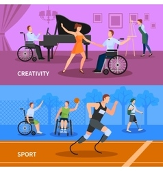Disabled people 2 flat banners composition vector