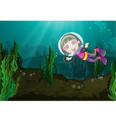 Diving girl vector