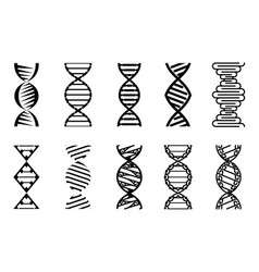 Dna icons set silhouette vector