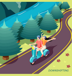 Downshifting couple isometric background vector
