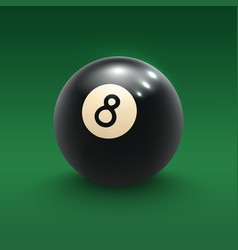 Eight pool ball on green billiard table 3d poster vector