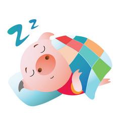 emoji character a pig sleeping under a blanket vector image