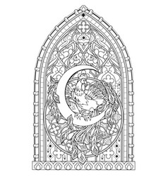 Fantasy gothic stained glass window with fabulous vector