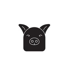 farm pig black concept icon farm pig flat vector image
