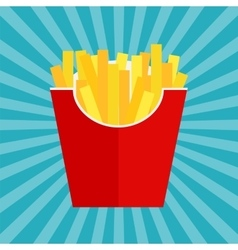 Fast Food Fried French Gold Fries Potatoes in vector image