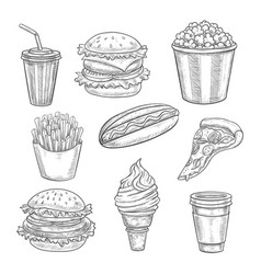 fast food sketch isolated icons set vector image