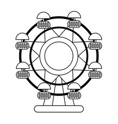 ferris wheel cartoon in black and white vector image