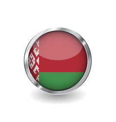 flag of belarus button with metal frame and vector image
